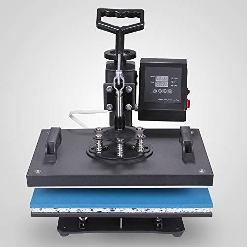 "SISHUINIANHUA Semi-Automatic 6In1 Heat Press Machine 12"" X 15"" Digital Transfer Sublimation T-Shirt Mug Hat"