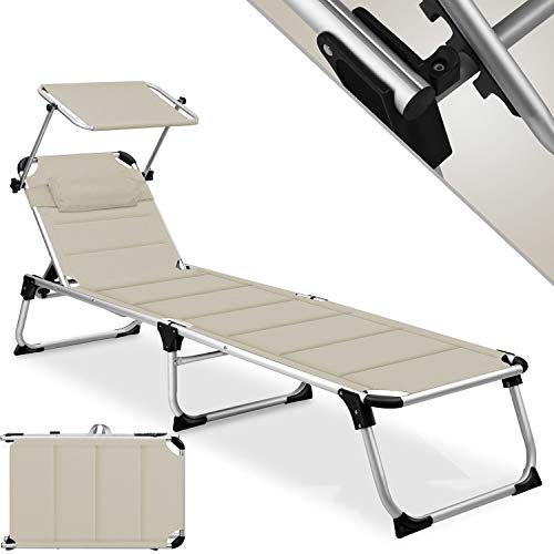 KESSER® Sonnenliege Sun mit Dach Gartenliege Liegestuhl klappbar Sonnendach...