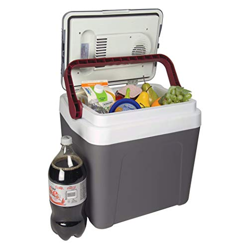 Koolatron Fun Kool Electric Cooler 26 Quarts/24 Liter, 12V DC Portable Thermoelectric Car Cooler for Camping, Beer, Wine, SUV, Boat, Home, Truck and Travel (Gray)