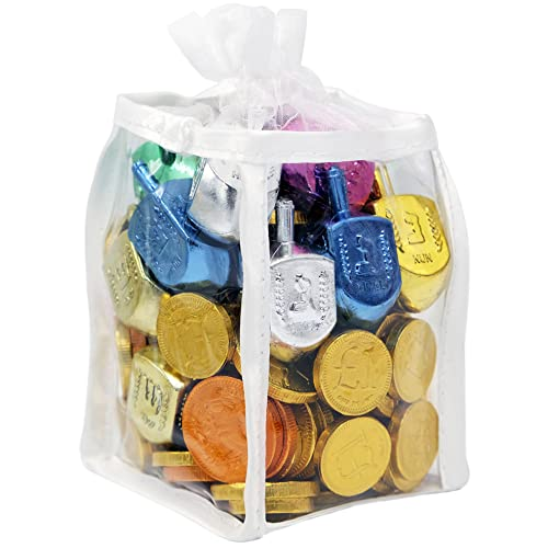 Hanukkah Gift Set Of Dreidels and Chocolate Gelt Coins for Chanukah In Adorable Dreidel Shaped Keepsake Bag With Game Instruction Card Included