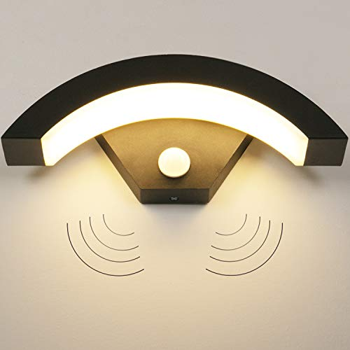 LEDMO Außenleuchte mit Bewegungsmelder 15W LED Wandleuchte Aussen 3000K IP55 Außenlampe mit Bewegungsmelder geeignet für Balkon, Garten und Flur.