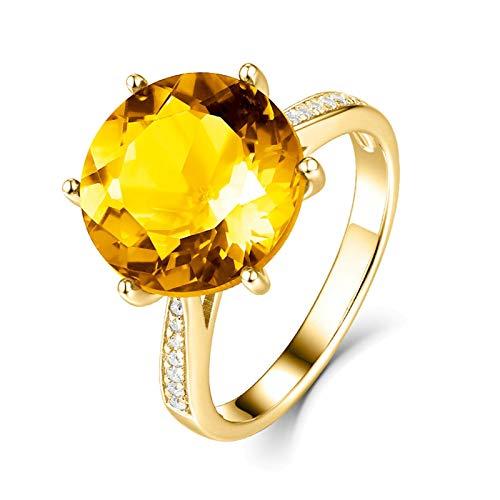 Socoz Mujer Unisex oro amarillo 18 quilates (750) redonda Yellow Citrine