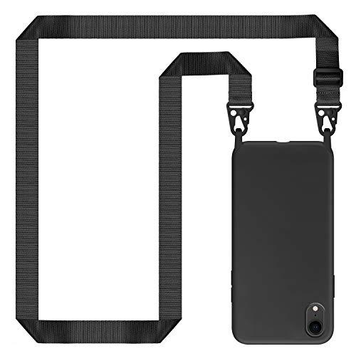 Genrics Handykette Hülle für iPhone XR, Necklace Hülle Nylon Schultergurt Weich Silikon Handyhülle mit Kordel zum Umhängen Schutzhülle mit Stylische Band, Schwarz