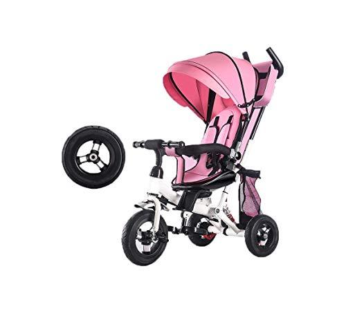 Triciclos Triciclo TRICICLE TRIKE 4 EN 1 Triciclo, Coches para niños Triciclo para niños con toldo para 12 meses de edad, niñas, niñas, niñas, pedal, scooters de trolley bidireccional, titanio Fre