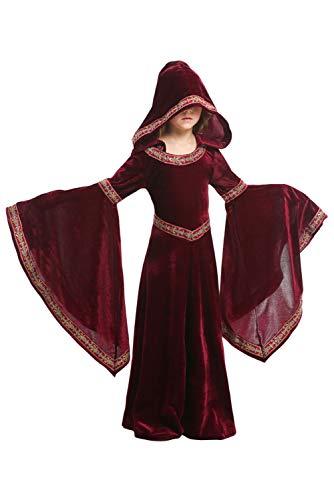Joyplay Kinder Mädchen Mittelalter-Kleid Mädchenkleid mit Gugel Kinder-Kleidung Rot XS