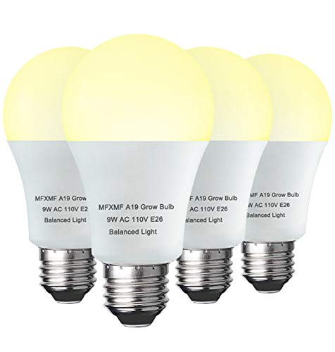 4 Pack LED Grow Light Bulb A19 Bulb, Full Spectrum Plant Light Bulb, 9W E26 Grow Bulb Replace up to 100W, Grow Light for Indoor Plants, Flowers, Greenhouse, Indore Garden, Hydroponic