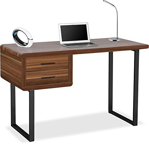 Centurion Supports Harmonia Walnut with Matt Black 2-Drawer Contemporary Home Office Luxury Computer Desk