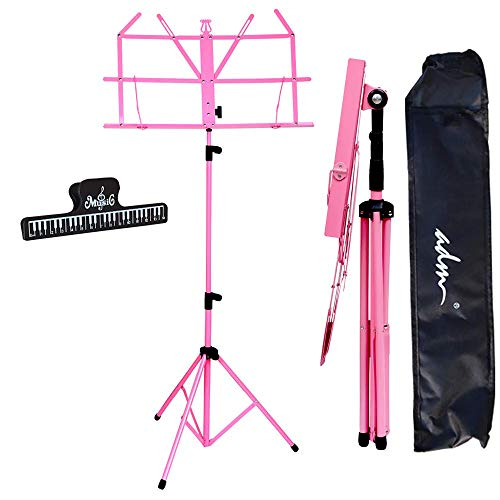 ADM Music Stand Folding Lightweight Sheet Music Stand & Desktop Stand Easy to Set Collapsible Adjustable Orchestra Portable with Carry Bag, Suitable for School & Choirs, Pink