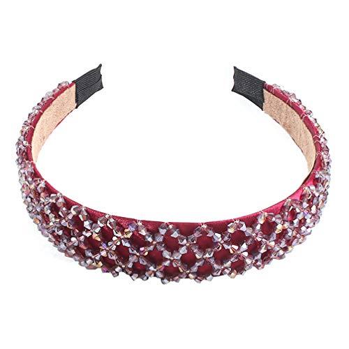Lurrose diadema de cristal de imitación diadema de borde ancho aro de cabeza de brillo colorido elegante encanto sombreros para mujer niña rojo