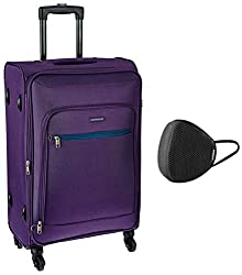 Aristocrat Nile Polyester 66 cms Purple Suitcase (STNILW66PPL) & VIP - VSAVE 6 Layer Protective Air Mesh Large Size Mask