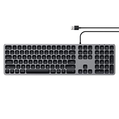 SATECHI Aluminium USB-toetsenbord met numerieke keypad – Compatibel met iMac Pro, iMac, 2018 Mac Mini, 2018 MacBook Pro/Air en MacOS apparaten (US, Ruimtegrijs)