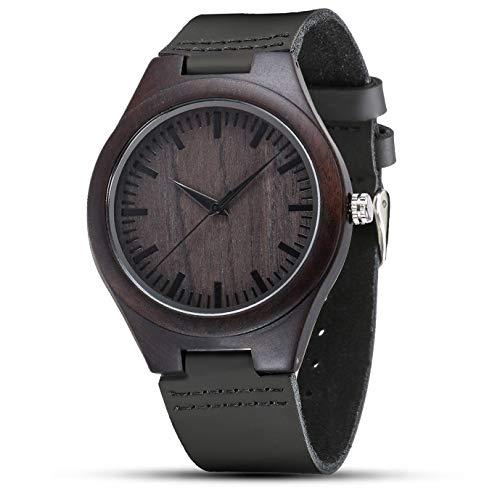 Reloj de madera para hombre, relojes de madera grabados, reloj de pulsera con correa de cuero retro hecho a mano, regalos personalizados para hombres, papá, esposo
