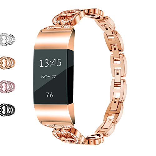 Wekin Replacement Metal Bands Compatible for Fitbit Charge 2 and Charge 2 HR, Adjustable Bling Rhinestone Smart Watch Accessory Wristband Bracelet Strap for Charge 2 Tracker Women Girls(Rose Gold)