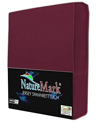 NatureMark Spannbettlaken Jersey alle Größen 22 Farben, Spannbetttuch 90x200 bis 100x200 cm, Farbe Bordeaux