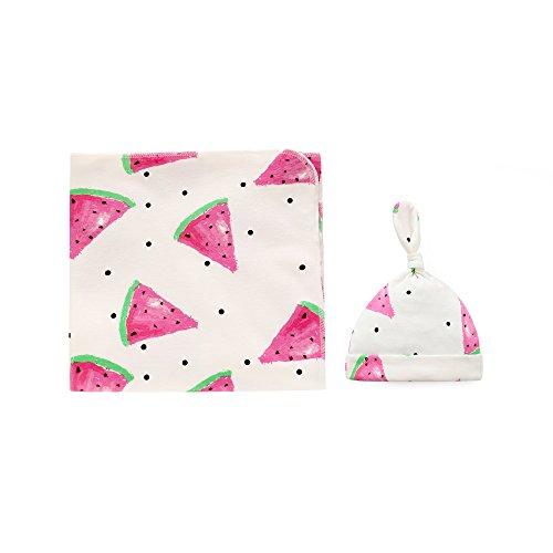 Baumwolle Babydecke Baby Pucktücher Pucktuch Wickeldecke Kuscheldecke 90x90CM mit Mütze Hut Set für Junge Mädchen 0-3 3-6 Monate