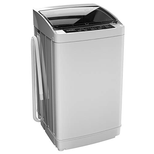 KUPPET Full-Automatic Portable Washing Machine, Compact 1.01 Cu.ft Laundry Washer Spin with Drain Pump,LED display,3 Washing Programs and 5 Water Levels,11 lbsCapacity, stainless steel inner tub,Grey.
