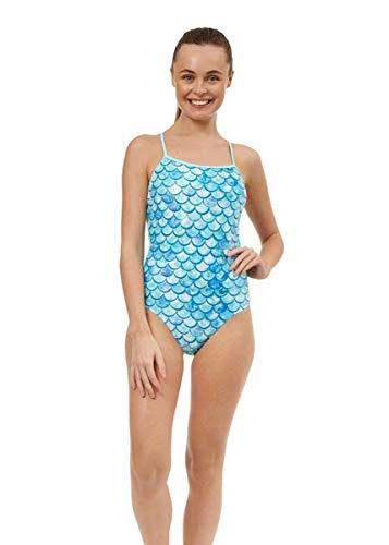 MARU Damen Shimmer Ecotech Sparkle Tie Back Badeanzug – Aqua (36)