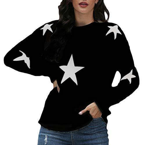 EUCoo - Maglioni da donna alla moda, a maniche lunghe, stile casual, con stampa a stelle (V) Nero L