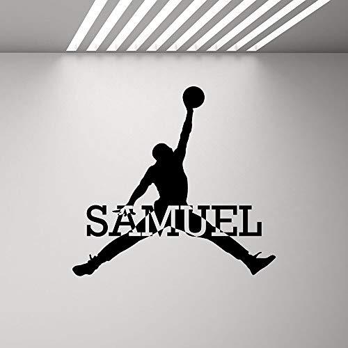 yaonuli Nombre Personalizado calcomanía niño Logotipo Personalizado Baloncesto Gimnasio Deporte Mural Vinilo Pegatina Dormitorio decoración 63x67cm