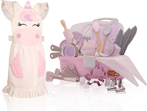 Unicorn Kids Baking Set with storage case, real working utensils, cookie cutters, and baking supplies, beautiful unicorn apron for kids. Baker Buddy from PMPX