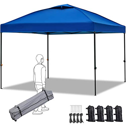 YAHEETECH 10 x 10ft Pop-up Canopy Commercial Instant Tent, Portable Quick Release Adjustable Height Beach Sun Shelter with Wheeled Carry Bag, Sand Bagsx4, Tent Stakesx8, Ropesx4 - Navy Blue