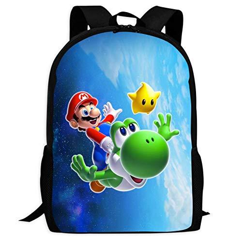 DJNGN Full Print Backpacks for Children Not Easy to Deform Washable Schoolbag Lightweight Shoulder Bags Ma-ri-o & Sonic