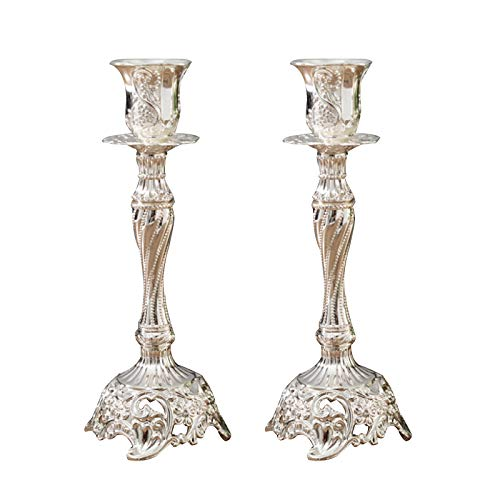 Beher 2Pcs Luxury Pillar Candle Holders Hollow Unique Mercury Glass Pillar Candle Holder Home Coffee Table Decor Decorations Centerpiece for Dining/Living Room- Best Wedding Gift