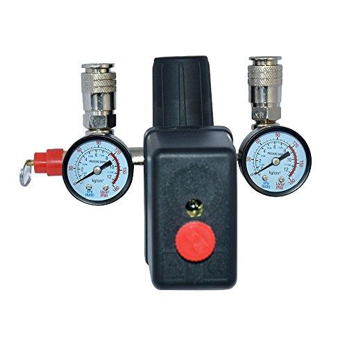 Solarnovo Regulador de Presión de Aire con Interruptor Manómetro de Cantidad de Presión Válvula 230V Conjunto (Conjunto)