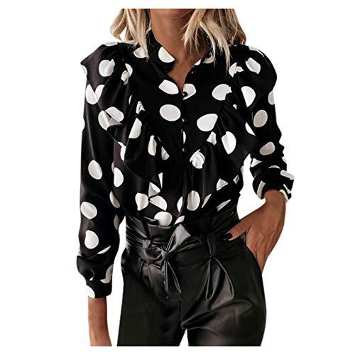 Overdose Blusa para Mujer OtoñO Primavera Nueva Mejor Venta De Moda Casual De Manga Larga Color Block Stripe Button Camisetas Tops (Small, Estilo14)