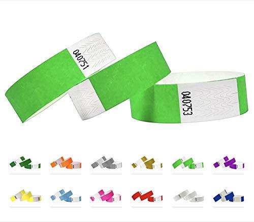 Braccialetti Tyvek, 500 pezzi, 19 mm, braccialetti per eventi, colore verde fosforescente
