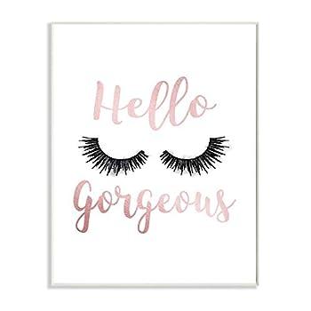 Stupell Industries Hello Gorgeous Black Eyelashes Typography Wall Plaque 10 x 15 Design by Artist Amanda Greenwood