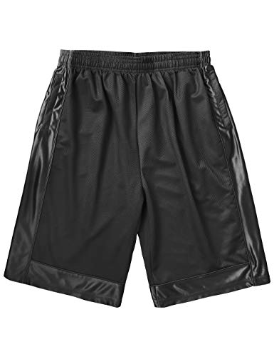 Ma Croix Mens Heavy Mesh Basketball Athletic Gym Shorts with Zipper Pockets (4X-Large, 1HAX0002_Black)