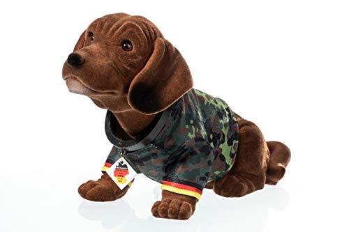 Rakso Oskar Schneider GmbH & Co. KG Wackeldackel groß 29 cm im Bundeswehr-Shirt Flecktarn - mit Echtheits-Zertifikat