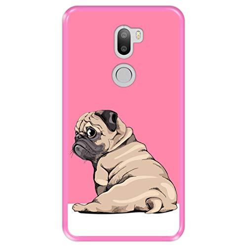 Hapdey Funda Rosa para [ Xiaomi Mi5s Plus - Mi 5s Plus ] diseño [ Cachorros Beige Pug posando 3 ] Carcasa Silicona Flexible TPU