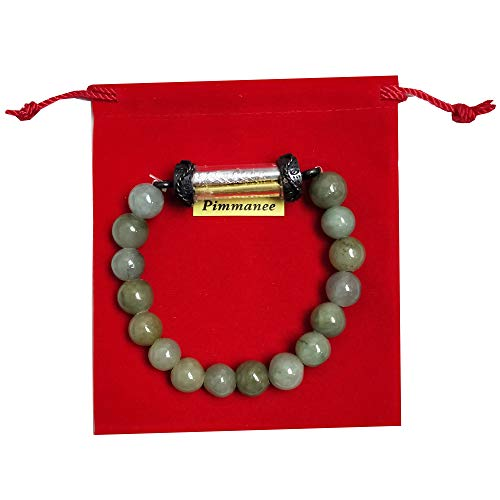 Buddha Amulet Holy Pendant Natural Green Stone Bracelets with Takut Kings Silver Gold NAT for Women Men Charms Thai Bring Prosperity Luck Success Trade Protected Life for Chubby People 7.00 inch
