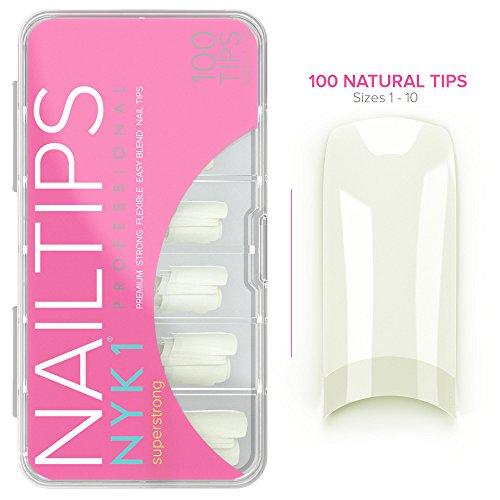 NYK1- Unghie professionali, color naturale o bianco, in acrilico - extension unghie artificiali,  qualità da negozio, flessibili - for uso con tutti i sistemi di gel per unghie con colla