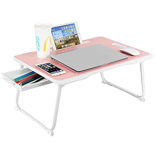 Astory Laptop-Schreibtisch mit Schublade, tragbarer Laptop-Betablett, Tisch, Notebook-Ständer, Lese-Halter, eingebauter praktischer Griff & faltbare Beine & Tassen-Schlitz für Bett/Sofa (Pink)