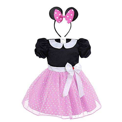 TiaoBug Babykleid Prinzessin Polka Dots Party Kleid Baby Mädchen Kostüm Halloween Cosplay mit Haarreif Pink 80