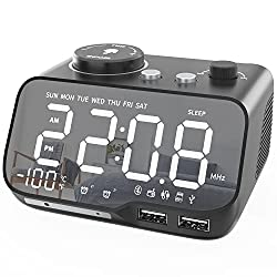 Alarm Clock Radio with Bluetooth Speaker 0-100% Dimmer Digital Mirror Alarm Clocks FM Radio Dual Alarm with Weekday Weekend Mode Snooze Sleep Timer Thermometer 2 USB Charger Battery Backup
