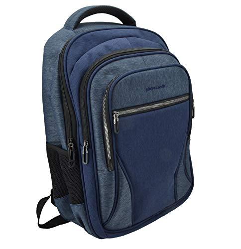 Pierre Cardin, Mochila de hombre para portátil 15,6/17 pulgadas, con puerto USB, Trabajo, Viajes, Universidad. Blu Jeans 4 cerniere -