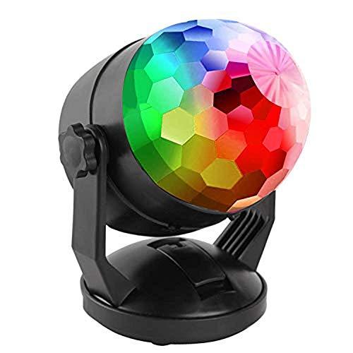 Led RGB Disco Ball Light USB/Battery Powered Sound Activated Mini Disco Light Portable Multicolor Rotating Small Rainbow Disco Ball For Car Party DJ Bar Club Home Room Party Christmas Wedding Kids