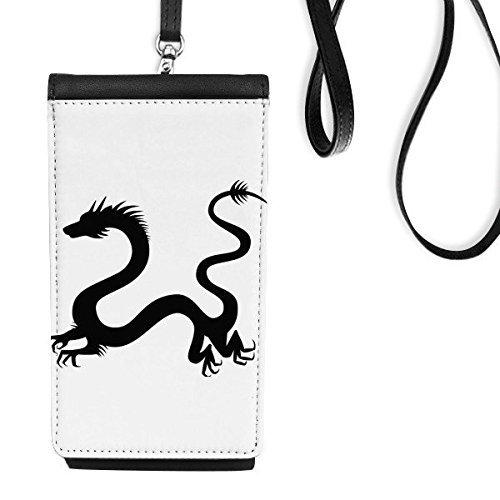 DIYthinker China Chinese Draak Silhouette Cultuur Traditionele Kunst Illustratie Patroon Faux Lederen Smartphone Hangende Handtas Zwart Telefoon Portemonnee Gift