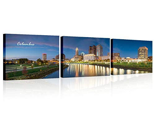 3 Piece Bathroom Decor Wall Art Columbus Skyline Genoa Park and Scioto River Landscape Pictures HD Print Framed Wall Decor for Bedroom, Living Room, Bathroom, Office Ready to Hang 14x20 inch x3