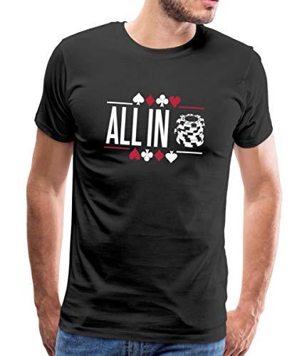 Spreadshirt Poker All in Jetons T-Shirt Premium Homme, M, Noir