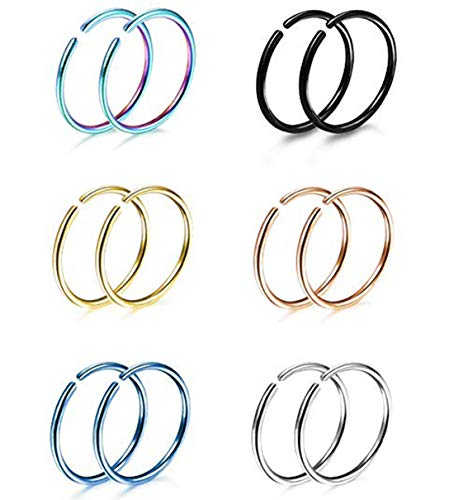 Milacolato 6 Pairs Non Pierced Stainless Steel Fake Nose Ring Septum Lip Helix Cartilage Tragus Ear Clip Hoop Rings 20G
