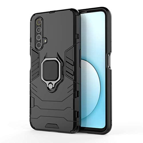 TANYO Funda para OPPO Realme X3 / X3 SuperZoom, Carcasa TPU/PC Hybrid Case con 360° Soporte, Robusta Silicona Estuche, Antigolpes Cover Caso Negro