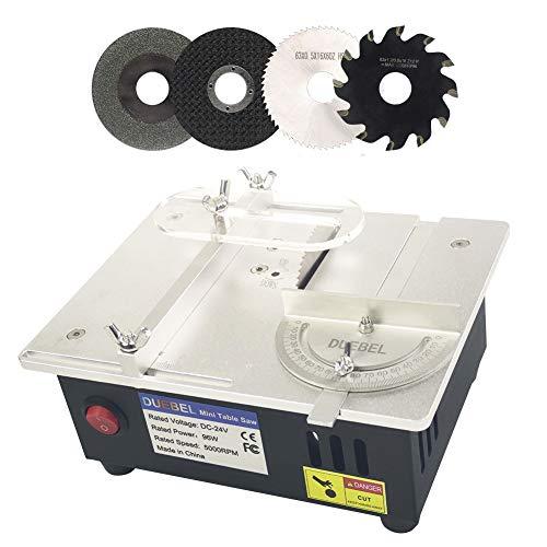 DUEBEL Mini scie circulaire de table avec jauge à onglet 18 cm x 14 cm x 8 cm - Portable - Profondeur de coupe de 14 mm - Pour le modélisme du bois fait à la main - Coupe de circuits imprimés