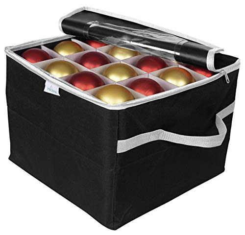 ProPik Ornament Storage Box Organizer Chest with 3 Separate Removable Trays Holds Up to 48 Ornaments Balls, Three Separated Trays with Dividers to Organize Bulbs (Black)