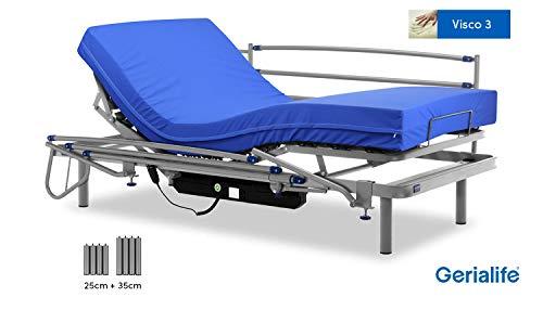 Gerialife® Pack Cama articulada eléctrica | Colchón Sanitario viscoelástico | Barandillas abatibles | Patas más Altas (105x190, Plateado)