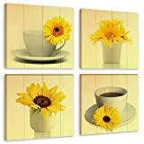 Flower Painting Wall Art Blooming Sunflower Coffee Cup Modern Still Life on Wood Background 4 Piece Canvas Picture Artwork for Kitchen Room Home Decor